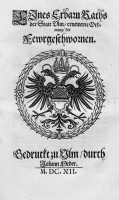 Ulmer Stadtrecht, 17. Jahrhundert, sehr selten