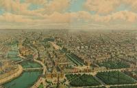 Berlin aus der Vogelschau - Farblithographie um 1900