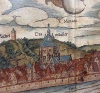 VERKAUFT: Sebastian Münster: altkolorierter Holzstich von Ulm um 1550