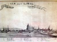 """Bodenehr: """"Ulm gegen Sud=Westen"""". Schöne Panorama - Gesamtansicht gegen Südwesten mit der Donau"""