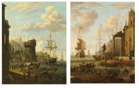 Storck, Abraham Jansz: Kontinentale Hafenszene, 2 Ölgemälde